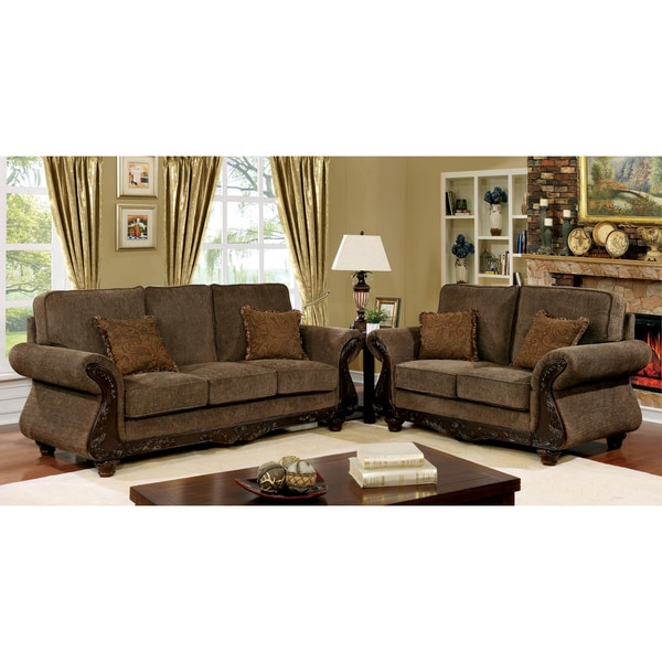 Telemen Traditional Brown 2 Piece Upholstered Sofa Set By Foa