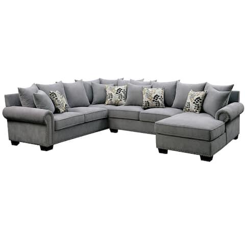 Furniture of America Riti Transitional Grey Fabric U-shaped Sectional