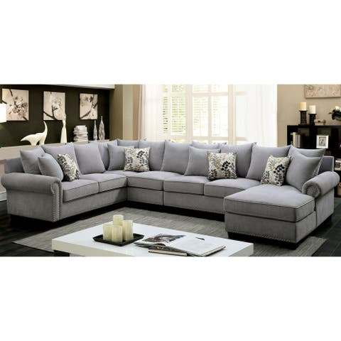 Furniture of America Riti Transitional Grey Fabric 2-piece Sectional