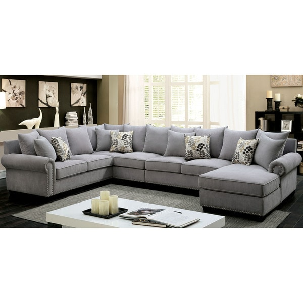 Casana 2 Piece Grey Upholstered U Shaped Extended Linen Sectional