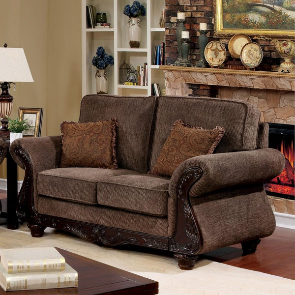 Furniture Of America Telemen Brown Fabric Upholstered Traditional Loveseat