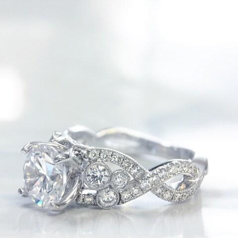 Lihara and Co. 18k White Gold 2/3 ct TDW Semi-Mount Engagement Ring (G-H, VS1-VS2) - White G-H