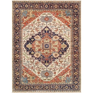 Pasargad Serapi Collection Blue/Multicolored Wool Hand-knotted Southwestern Area Rug (9'10 x 14'2)
