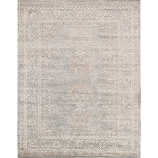Oushak Collection Hand-knotted Grey Bamboo Silk Area Rug (8'11 x 11'11)