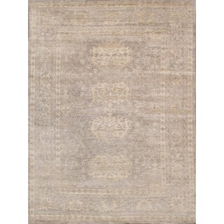 Oushak Collection Taupe Bamboo silk Hand-knotted Rug (9'1 x 11'8)