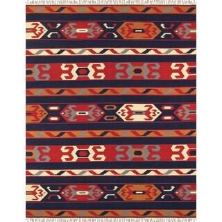 Anatolian Collection Multicolored Cotton Hand-woven Reversable Geometric Area Rug (9' x 12')