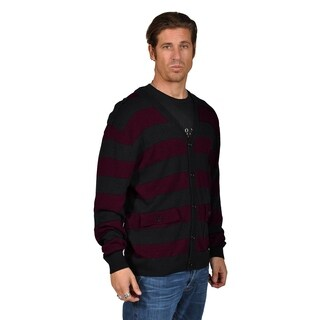 V-Neck Cardigan Sweater with 2 Pocket Shoulder Badge Black Burgundy.