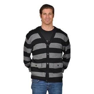 V-Neck Cardigan Sweater with 2 Pocket Shoulder Badge Black Gray.