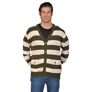 V-Neck Cardigan Sweater with 2 Pocket Shoulder Badge Olive Natural (More options available)