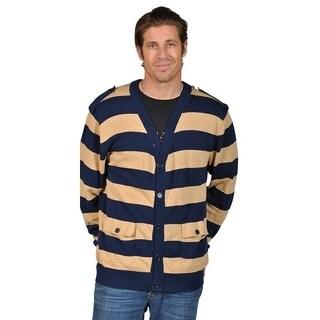 V-Neck Cardigan Sweater with 2 Pocket Shoulder Badge Navy Khaki