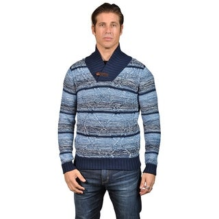 Mens Knit Crosshatch Quarter-length Turtle Neck (LARGE, WHITE)