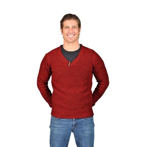 Men's NAIF Shawl Collar Cardigan Sweater (Medium, Brown)