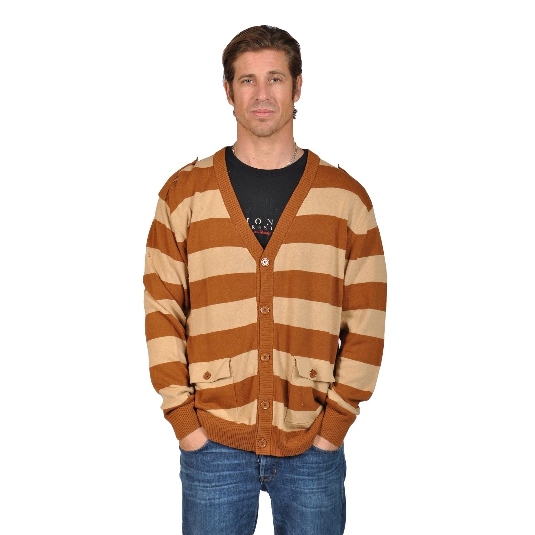 V-Neck Cardigan Sweater with 2 Pocket Shoulder Badge Khak...