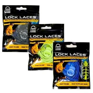 LOCK LACES - Elastic No-Tie Shoelaces (Pack of 3) (Black-Green-Blue)