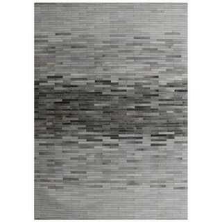 """Hand-Loomed Silver Cowhide Area Rug (2' 0"""" X 3' 0"""")"""