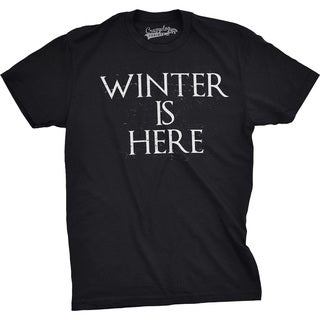 Mens Winter Is Here Funny T shirts Nerdy Christmas Tees Cool Novelty T shirt