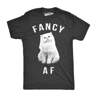 Mens Fancy AF Funny T shirts Novelty Tees Hilarious Cat Face Animal T shirts