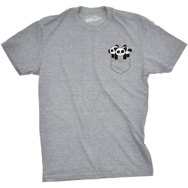 Mens Pocket Pandas Funny T shirts Printed Graphic Humor Cool Panda ...