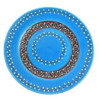 Handmade Round Plate - Azure Blue (Mexico)