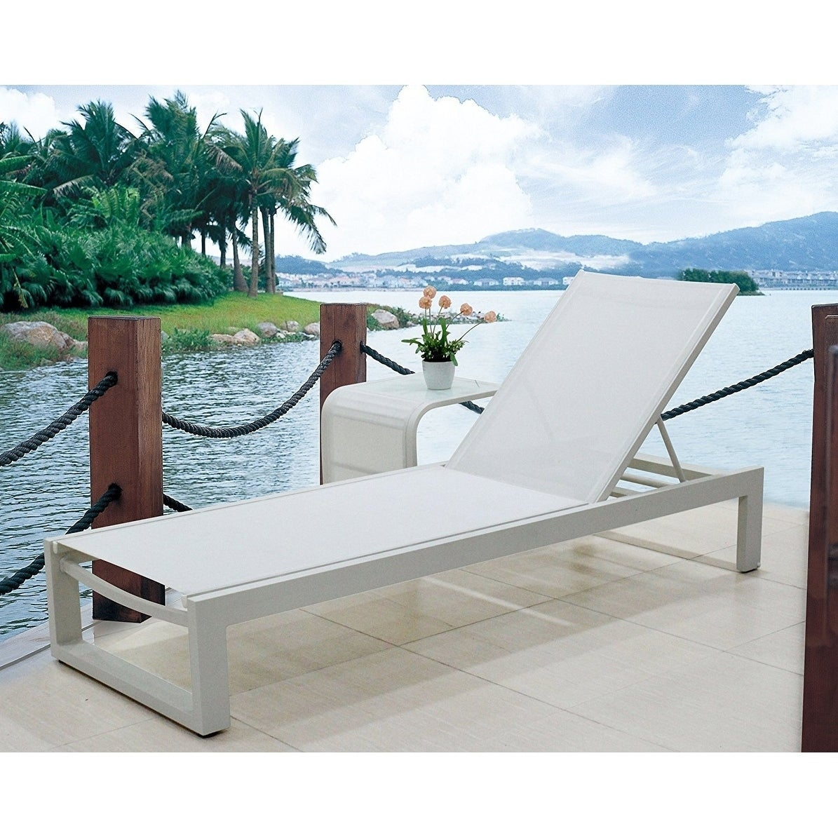 Infinity White All-weather Modern Adjustable Outdoor Patio Chaise Lounge  Furniture (Pack of 2)