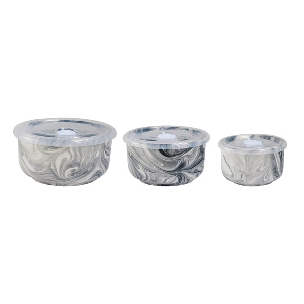 Marble Grey Set of 3 Bowls with Lids