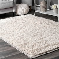 nuLoom Moroccan Diamond Border Ivory Wool/Cotton Shag Rug - 5' x 8'