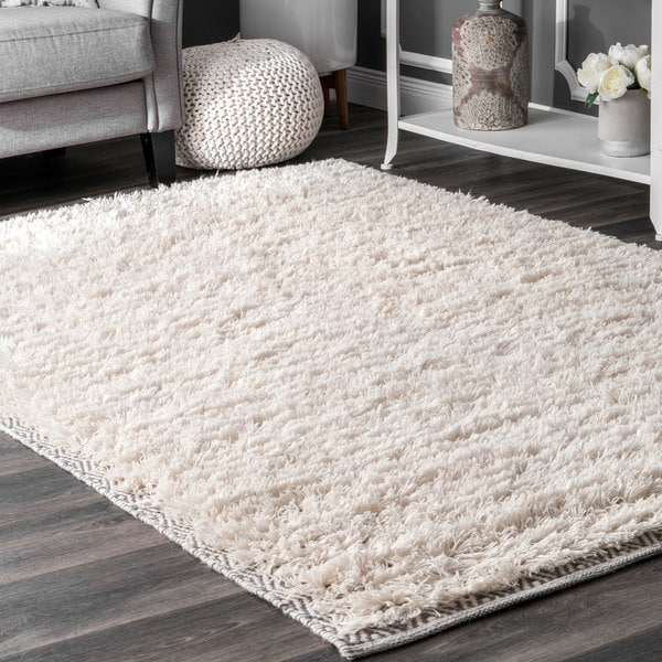 Nuloom Moroccan Diamond Border Ivory Wool Cotton Rug 7 X27 6