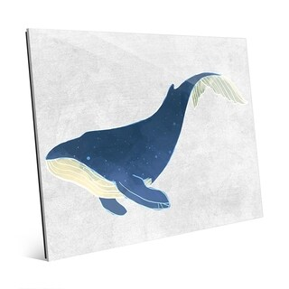 Blue Watercolor Whale Wall Art Print on Acrylic