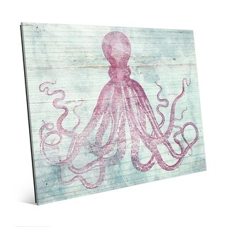 Vintage Octopus in Rouge Wall Art Print on Acrylic