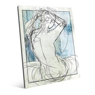 Woman - Line Drawing on Celeste Wall Art Print on Acrylic