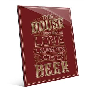 This House Runs Best On Beer on Red Wall Art Print on Acrylic