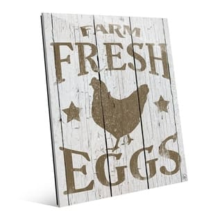 Farm Fresh Eggs Brown Rustic Wood Wall Art Print on Acrylic
