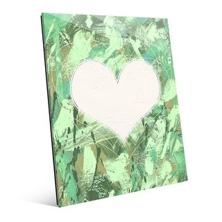 Heartbeat Abstract Heart in Green Wall Art Print on Acrylic