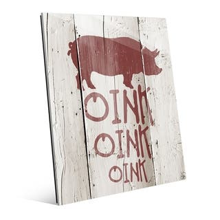 Oink Oink Oink Red Pig Rustic Wood Wall Art Print on Acrylic