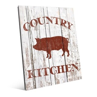 Country Kitchen Pig on Planks Wall Art Print on Acrylic