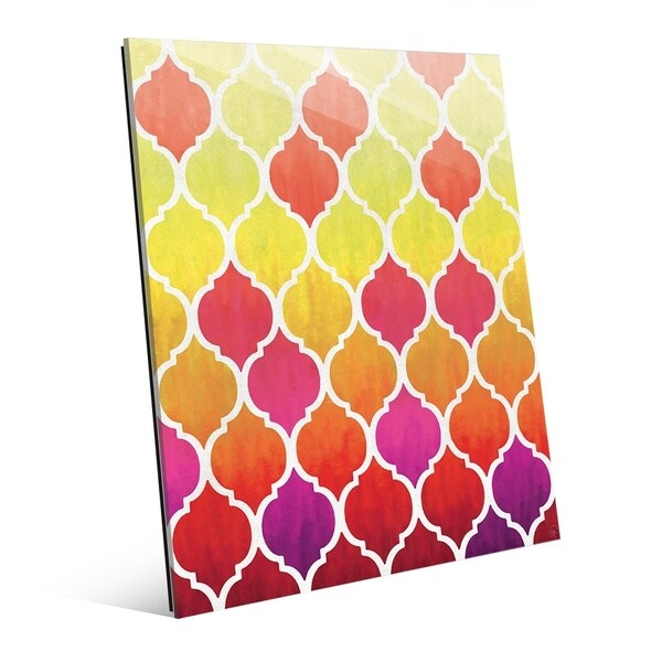 Moroccan Tiles Yellow Red Purple Wall Art Print on Acrylic - Free ...
