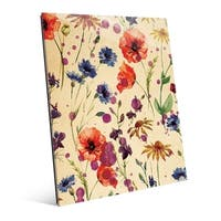 Wall of Watercolor Flowers Wall Art Print on Acrylic