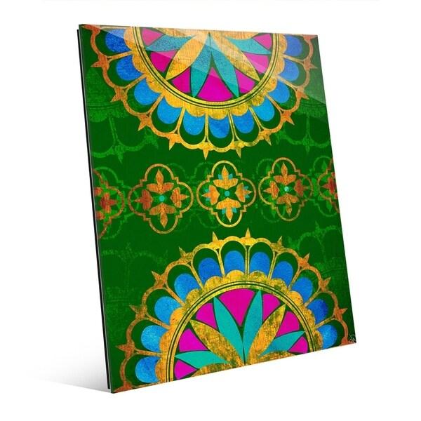 Shop Golden Henna On Emerald Wall Art Print On Acrylic Free