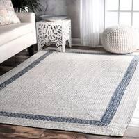 nuLoom Grey Hand-braided Bordered Indoor/ Outdoor Area Rug (5' x 8') - 5' x 8'
