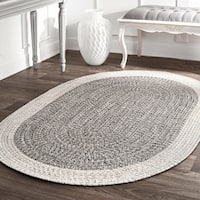 nuLOOM Contemporary Hand Braided Solid Border Indoor/Outdoor Grey Oval Rug (4' x 6') - 4' x 6' oval