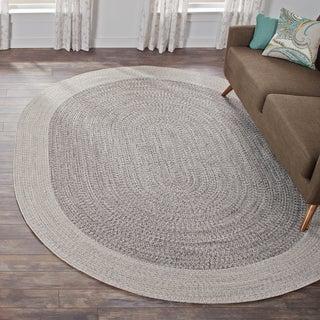 nuLoom Contemporary Grey Hand-braided Solid Border Indoor/Outdoor Oval Rug (7' 6 x 9' 6)