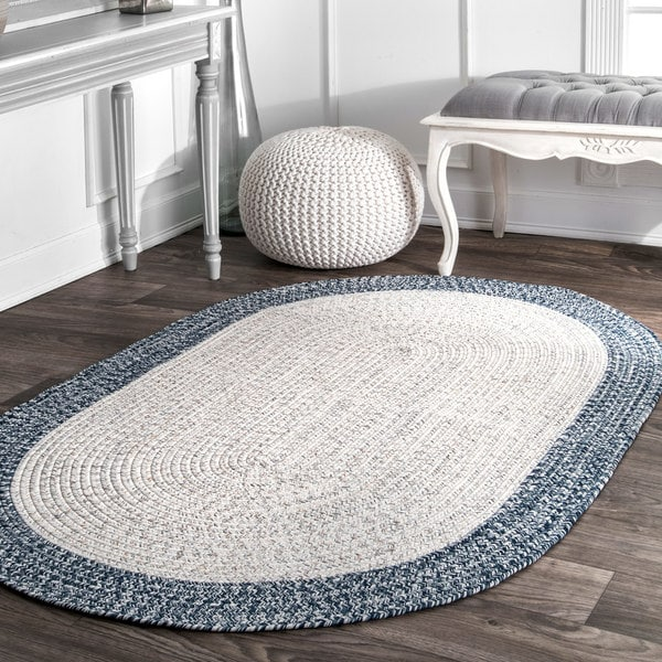 nuLOOM Contemporary Hand Braided Solid Border Indoor/Outdoor Ivory Oval Rug (4' x 6') - 4' x 6' oval