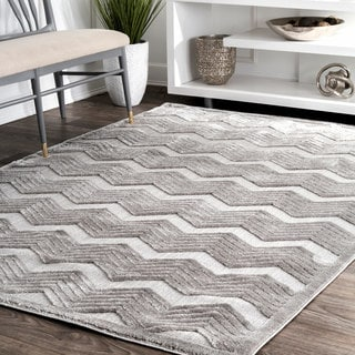 nuLoom Contemporary Thick Chevron Waves Grey Rug (5' x 8')