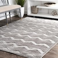 nuLoom Waves Grey Chevron Area Rug - 8' x 10'