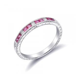 18k white gold 048ct tgw pink sapphire and white diamond wedding band white g h - Pink Diamond Wedding Ring