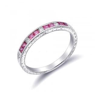 18k White Gold 048ct TGW Pink Sapphire And Diamond Wedding Band