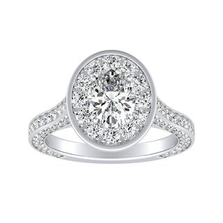 Auriya 18K Gold 1 1/2ct TDW Oval-cut Diamond Halo Engagement Ring - White G-H