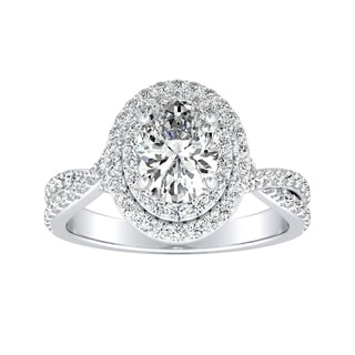 Auriya 18K Gold 3/4ct TDW Oval-cut Diamond Split Shank Double Halo Engagement Ring - White G-H