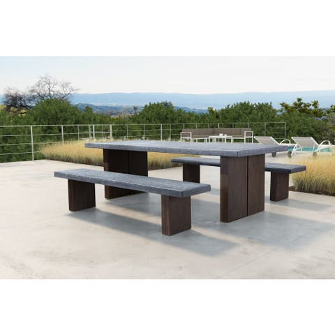 Windsor Dining Table Cement & Natural - 94.5W x 39.4D x 29H