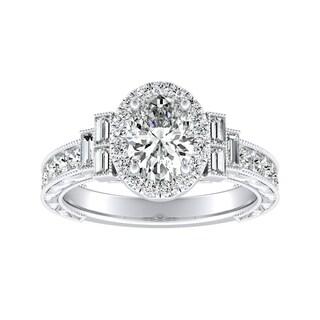Vintage Art Deco Oval Cut Halo Diamond Ring 1 3 8cttw 18k Gold By Auriya